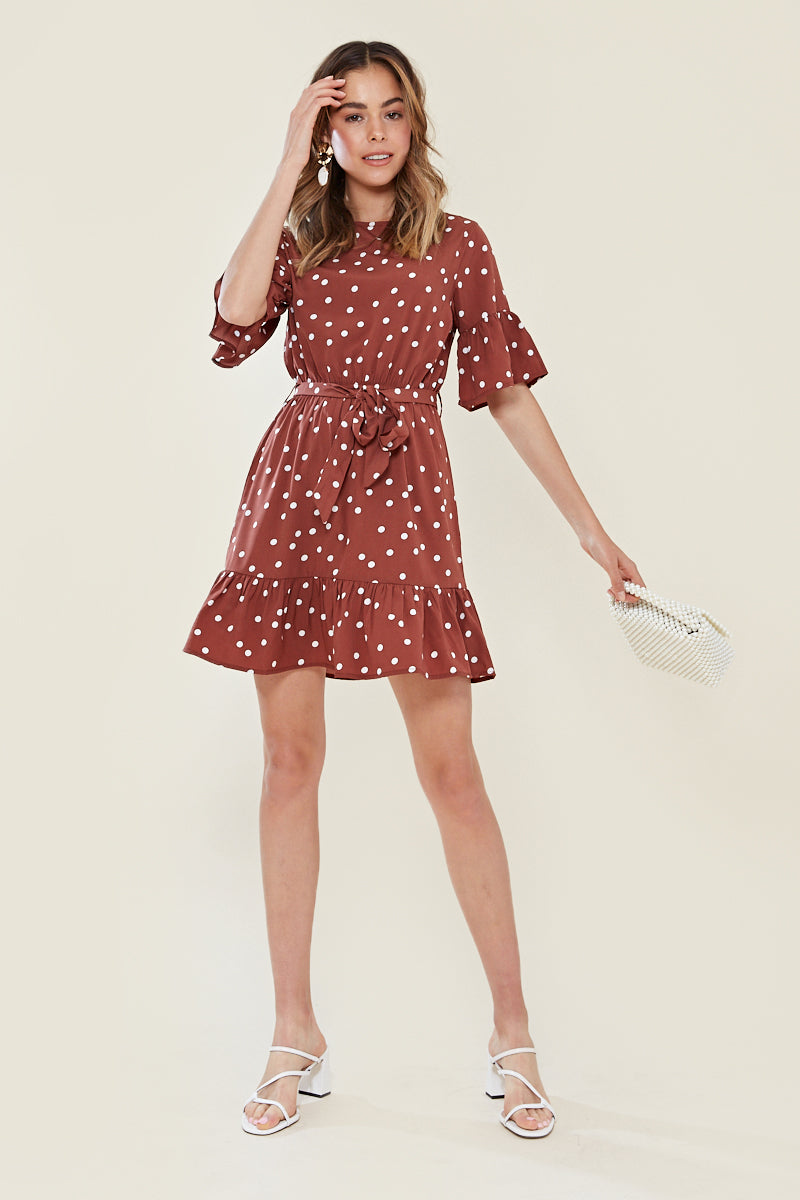Frill Sleeve And Drop Frill Hem Skater Dress <br/> Brown