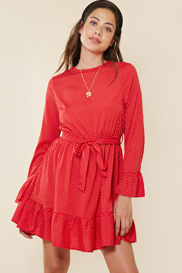 Frill Hem Spot Skater Dress <br> Red