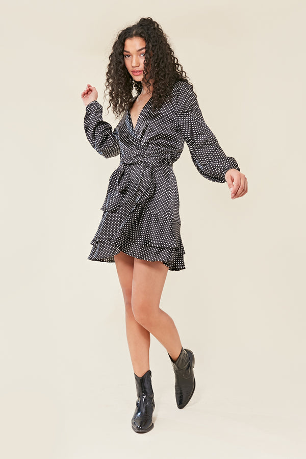 Frilled Spot Wrap Mini Dress </br> Black