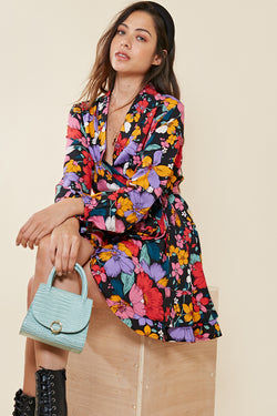 Retro Floral Wrap Dress <br> Multi