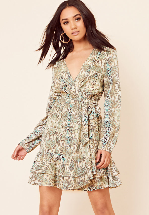 Snake Print Wrap Mini Dress <br> Green