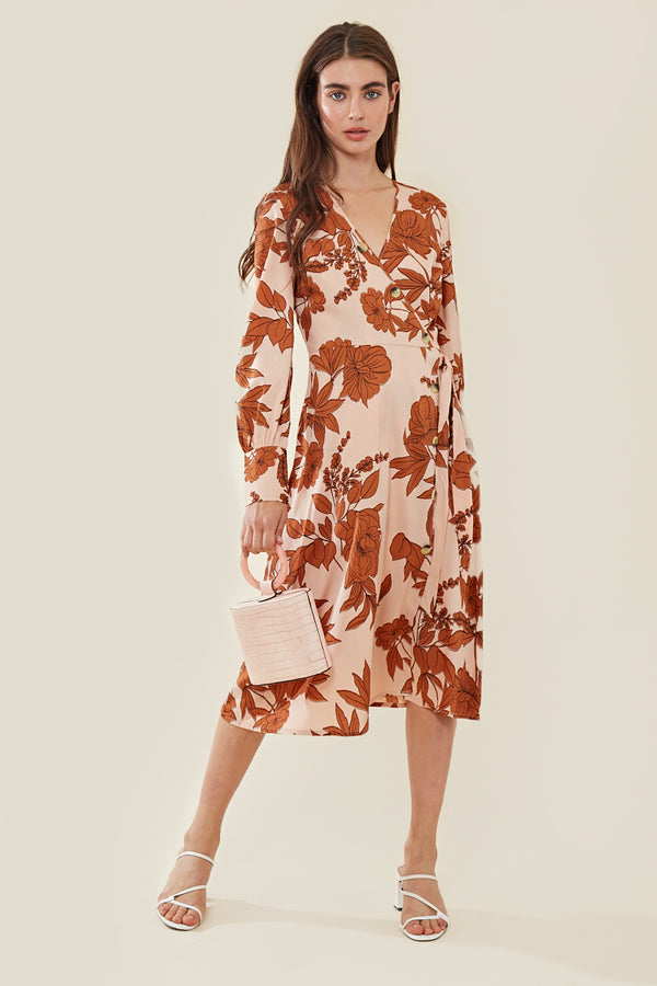 Wrap Midi Dress in Stencil Floral Print </br> Pink