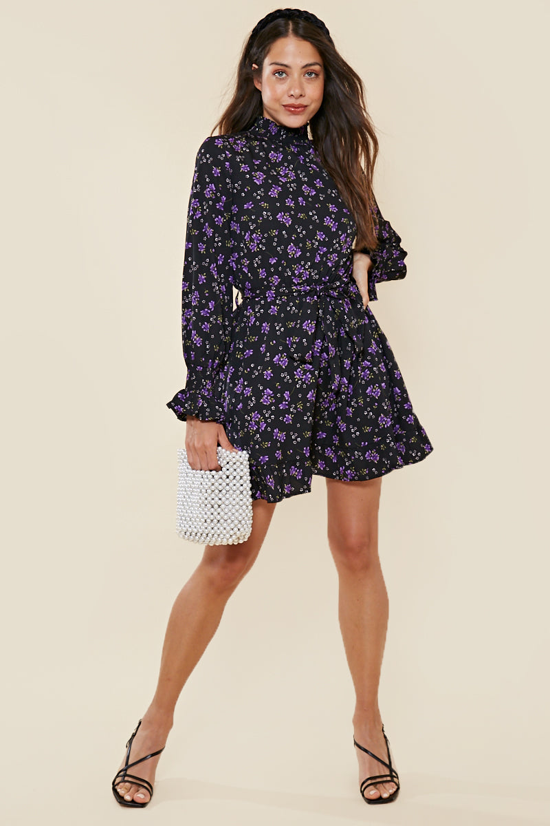Lilac Floral High Neck Dress With Shirring <br> Black