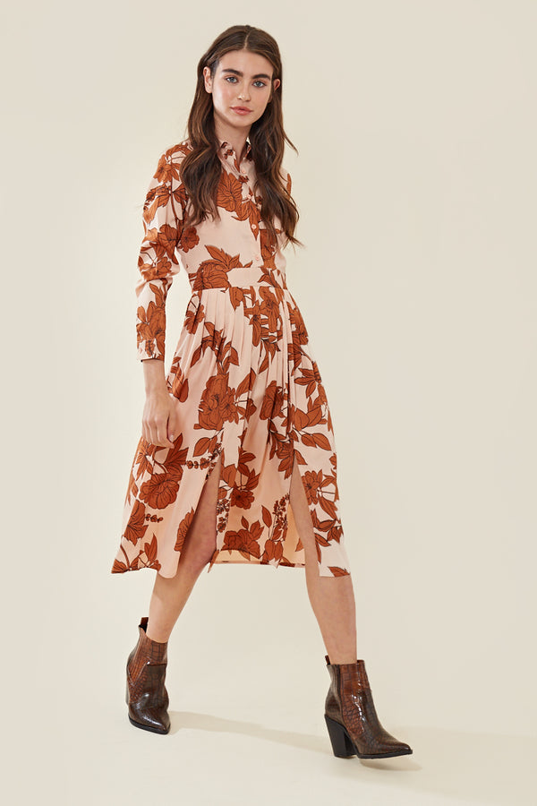 Midi Shirt Dress in Stencil Print </br> Multi