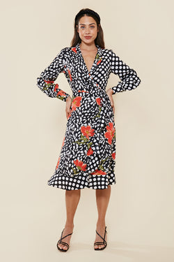Contrast Print Wrap Midi Dress <br> Multi