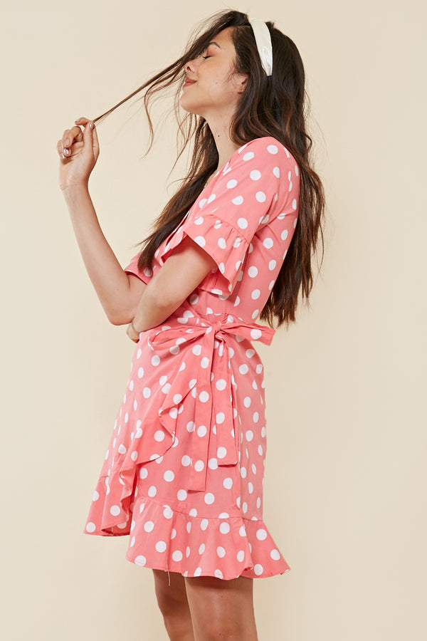 Pink Spot Ruffle Wrap Dress <br> Pink