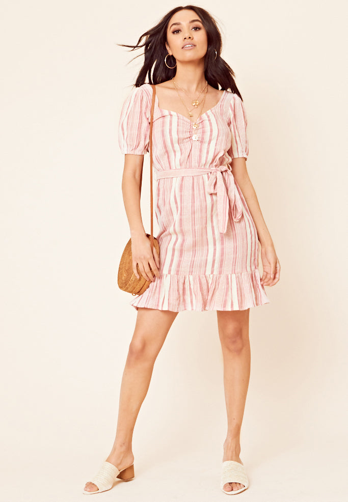 Striped Peplum Hem Dress <br> Red