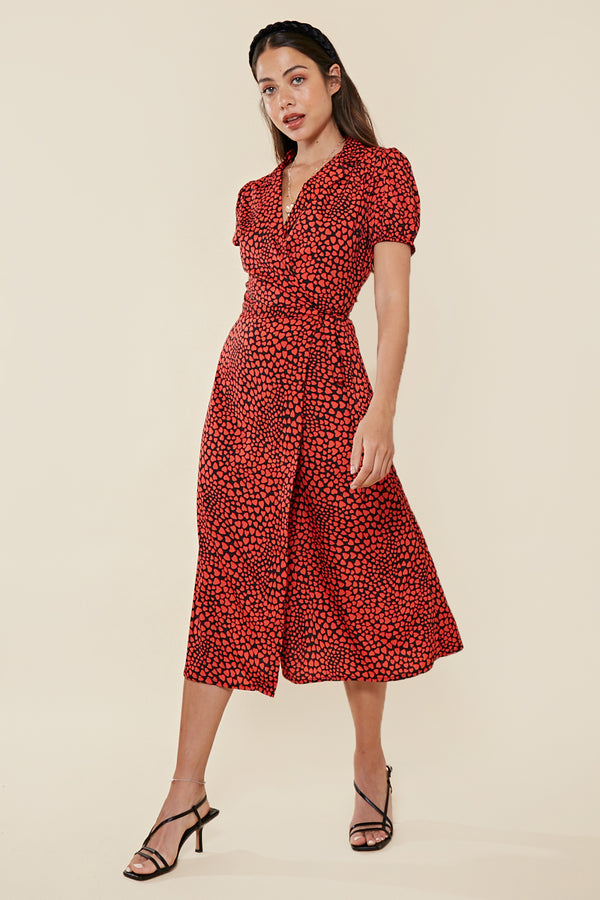 Puff Sleeve Heart Wrap Midi Dress <br> Red