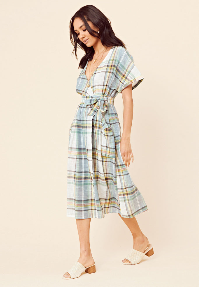 Check Wrap Midi Dress <br> Blue