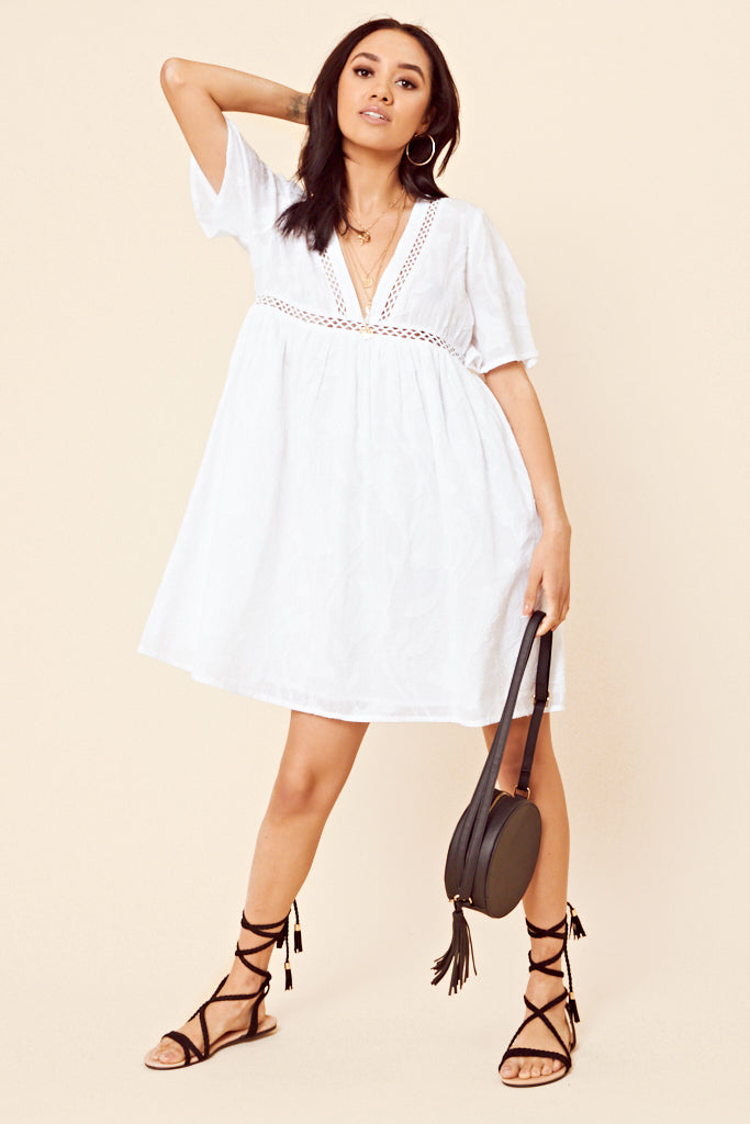 Cheese Cloth Smock Dress <br> White