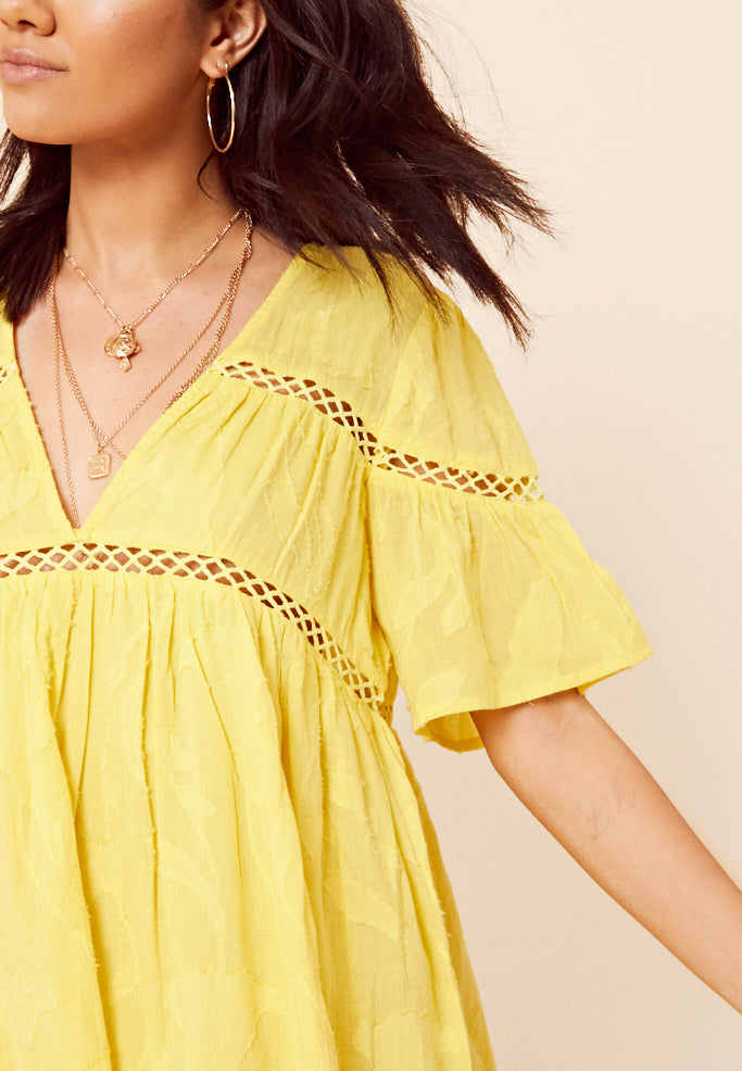 Cheese Cloth Smock Dress <br> Yellow