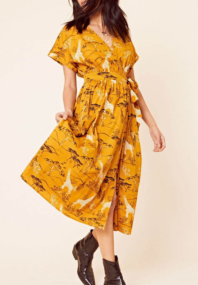 Safari Print Wrap Midi Dress <br> Yellow