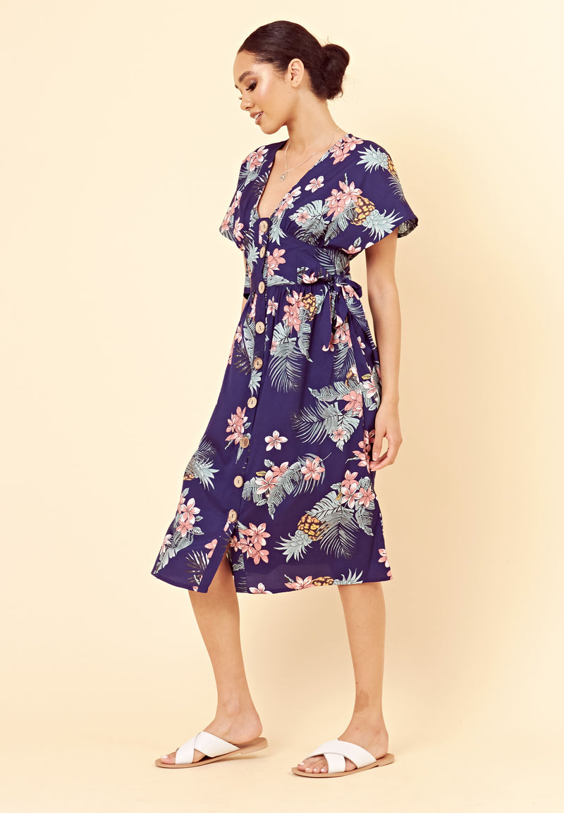 Floral Button Through Midi Dress <br> Navy