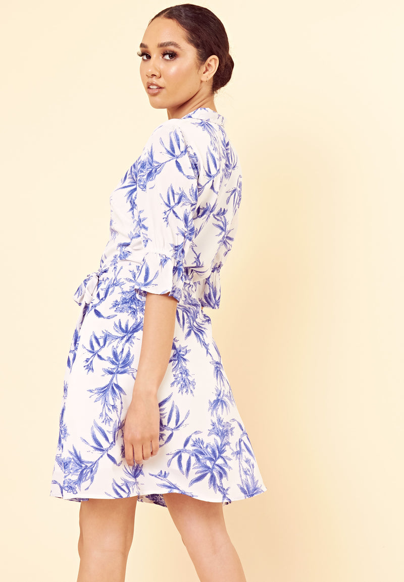 Tropical Wrap Dress With Frill Sleeve <br> Blue
