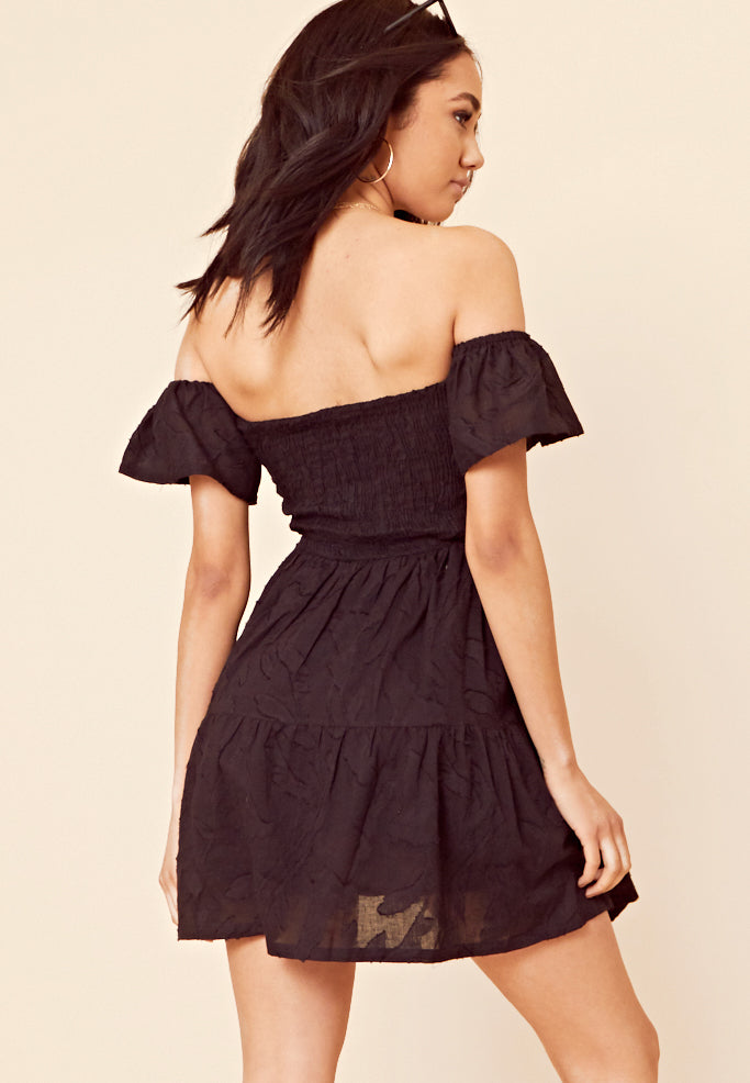 Bardot Shirred Shift Dress <br> Black