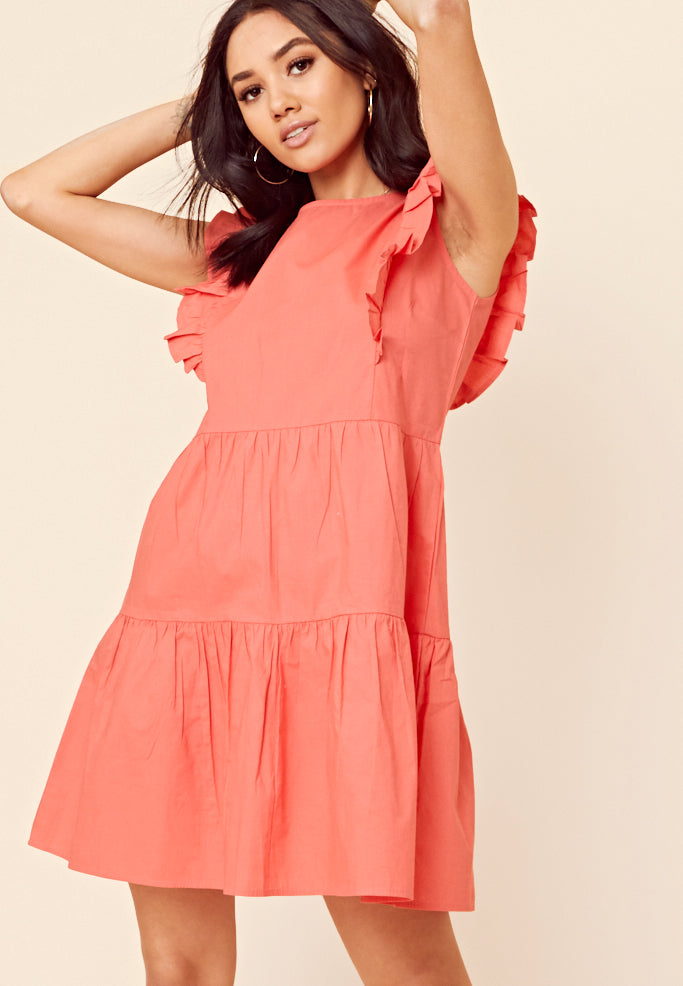 Tiered Smock Dress <br> Orange