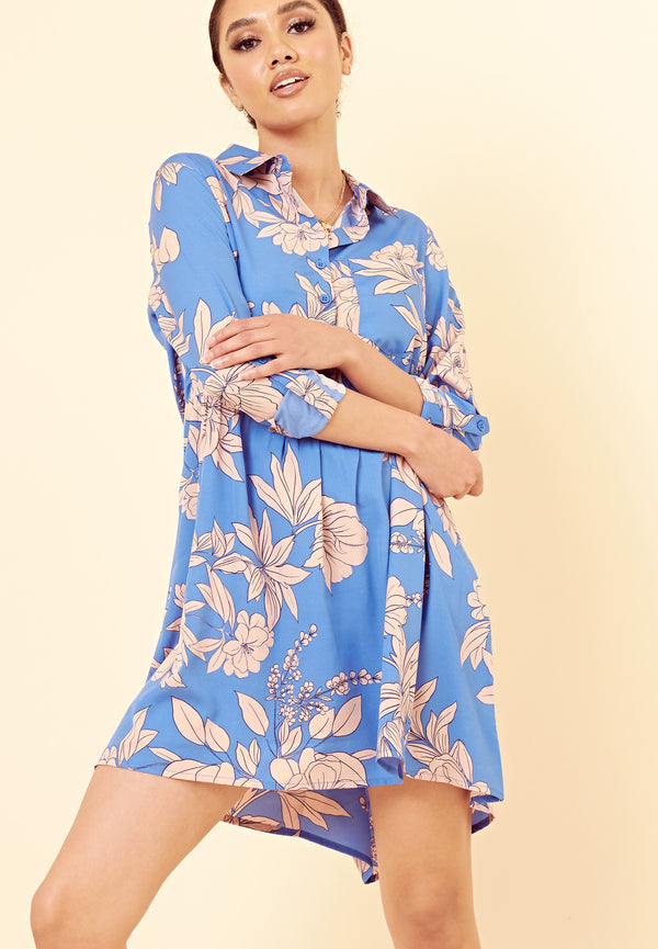 Stencil Floral Shirt Dress <br> Blue