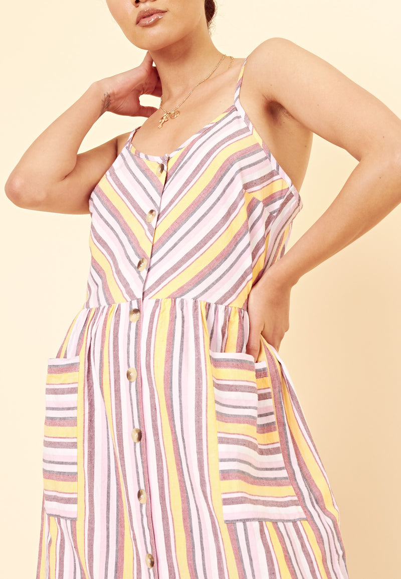 Pastel Stripe Button Through Midi Dress With Pockets <br> Multi