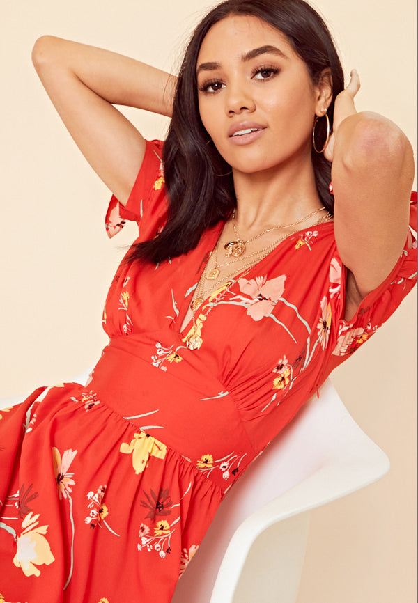 Floral Print Split Midi Dress <br> Red