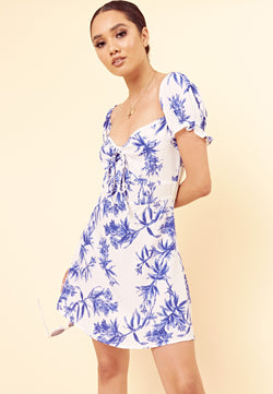 Tropical Sweetheart Neck Dress <br> Blue