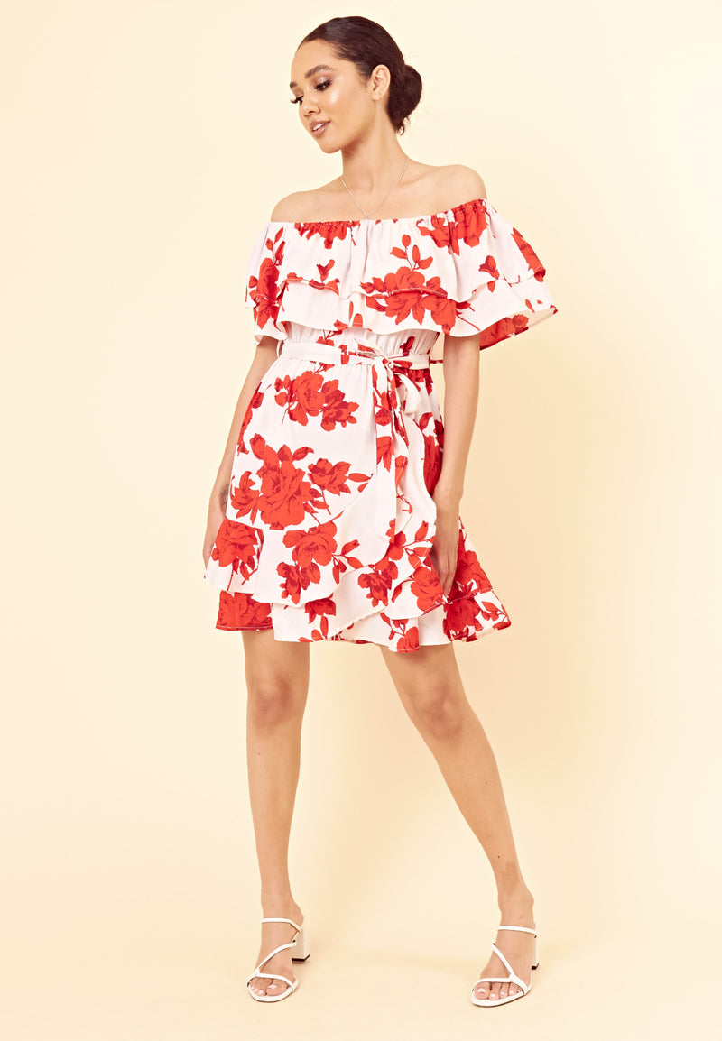 Red Floral Bardot Frill Wrap Dress <br> Red