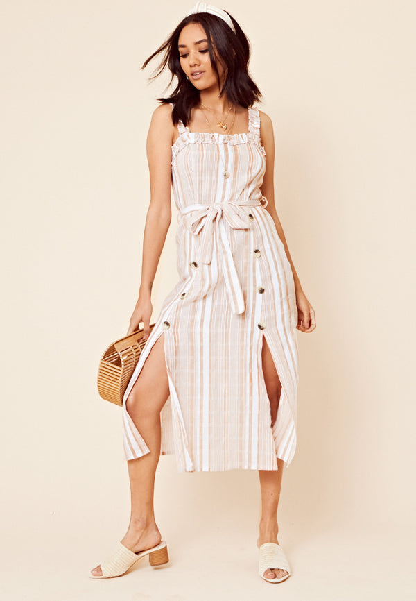 Stripe Tie Waist Midi Dress <br> Multi