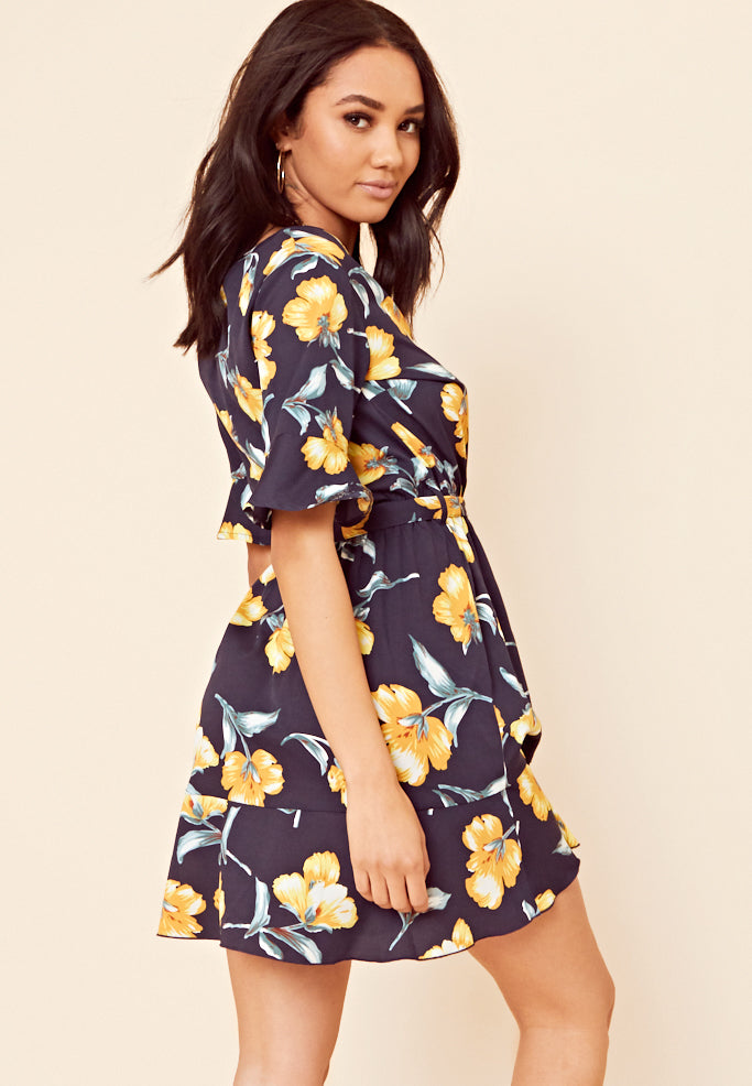Floral Wrap Frill Mini Dress <br> Navy