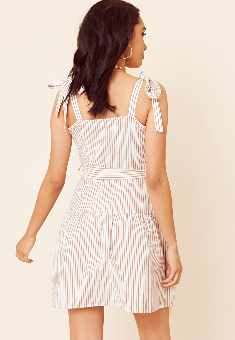 Stripe Square Neck Mini Dress <br> Multi