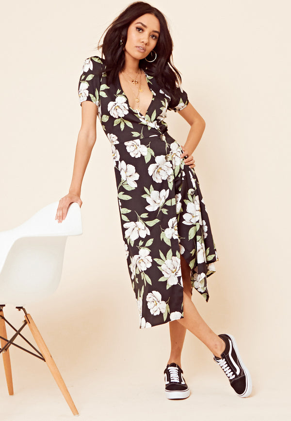 Floral Print Wrap Midi Dress <br> Black