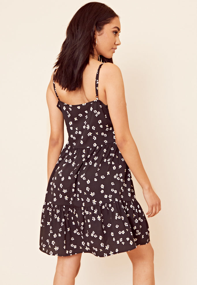Daisy Print Button Front Dress <br> Black
