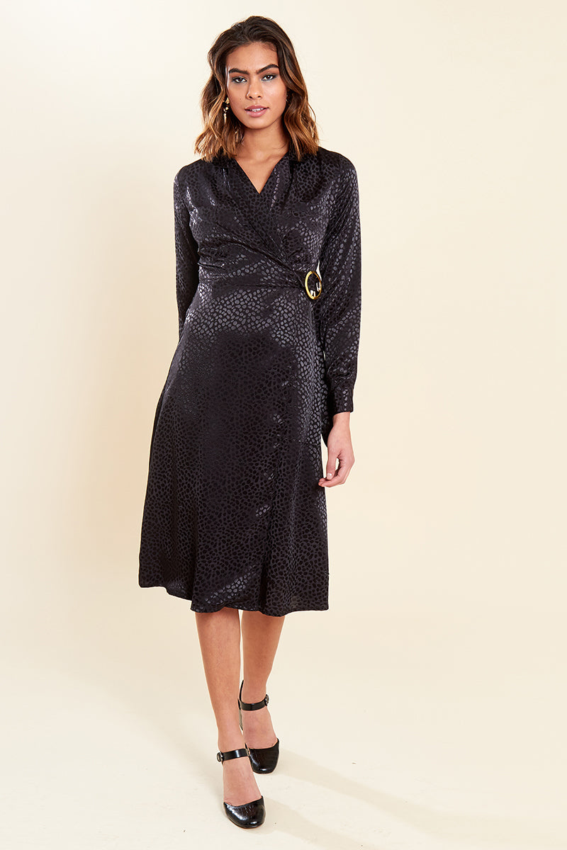Wrap Long Sleeve Midi Dress with Buckle </br> Black