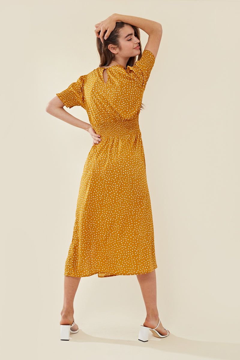 Shirred Sleeve Split Front Spot Midi Dress </br> Yellow
