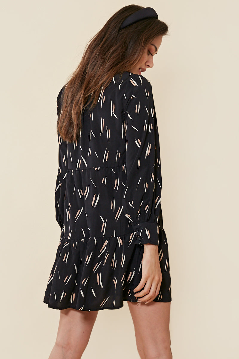 Paint Stroke Tiered Smock Dress <br> Black