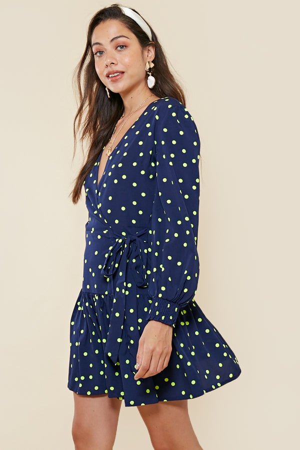 Lime Spot Ruffle Hem Wrap Dress <br> Navy