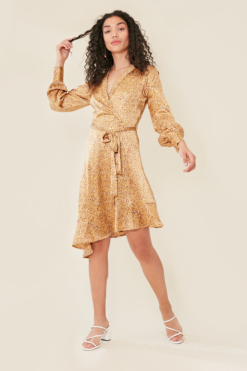 Animal Print Long Sleeve Wrap Satin Dress </br> Yellow
