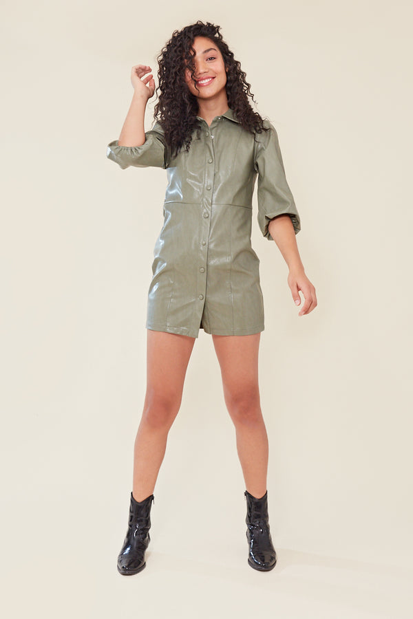 Faux Leather Shirt Dress with Puff Sleeves </br> Green