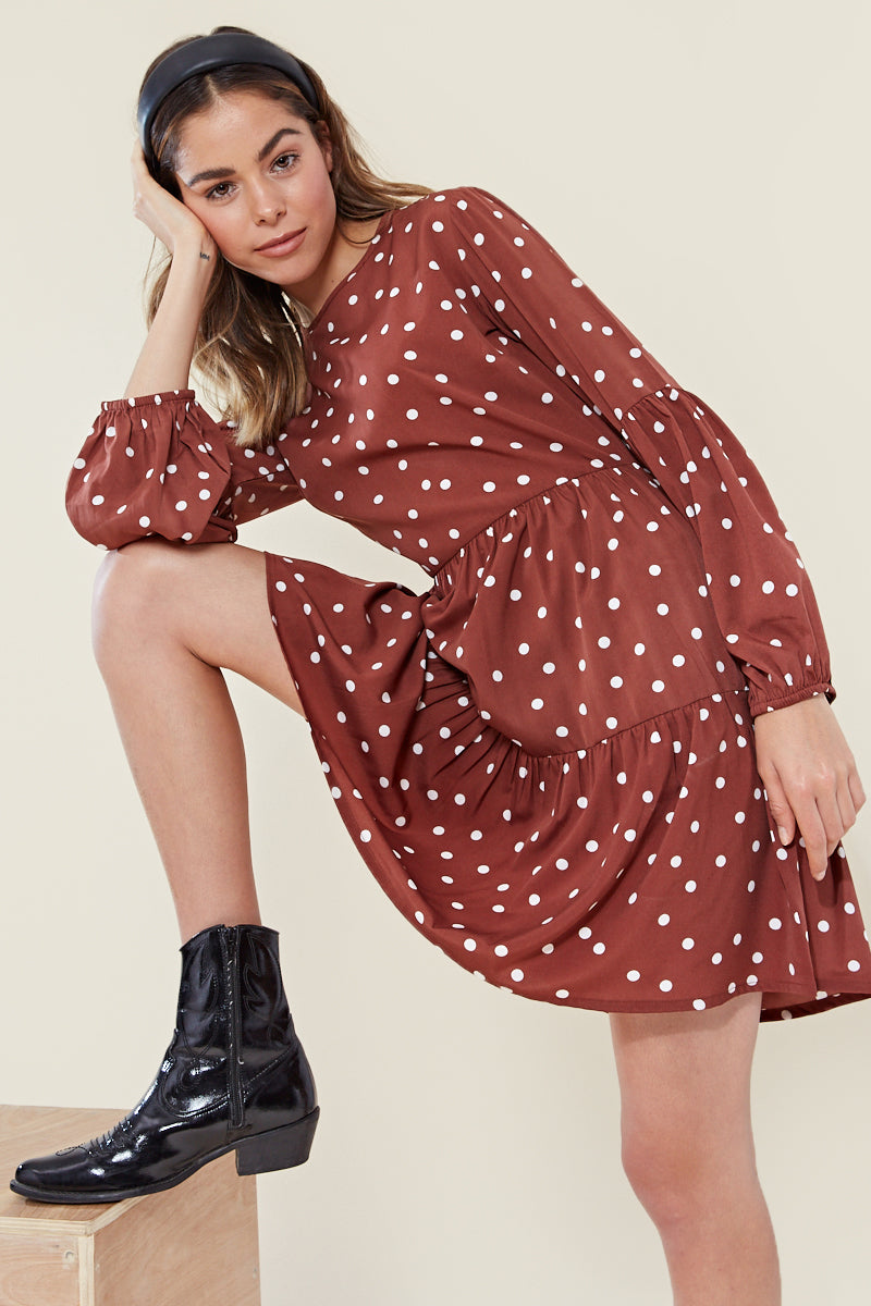 Balloon Sleeve Tiered Smock Spot Dress <br/> Brown