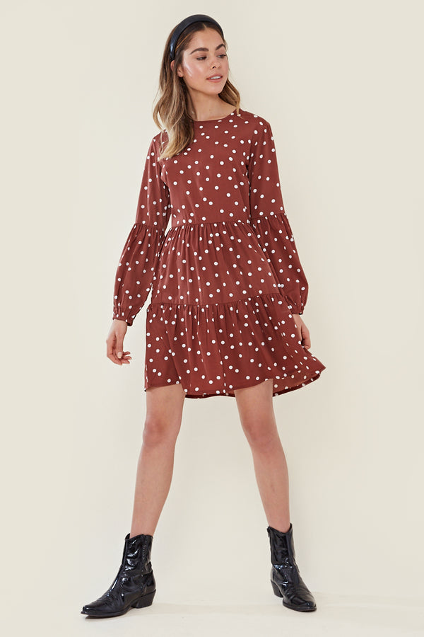 Balloon Sleeve Tiered Smock Spot Dress <br/> Brown/Rust