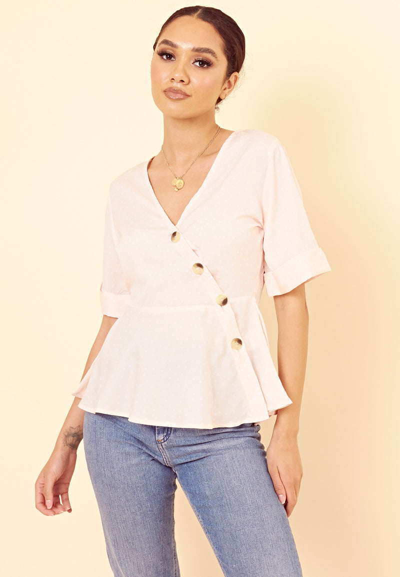 Asymetric Button Peplem Top <br> Pink