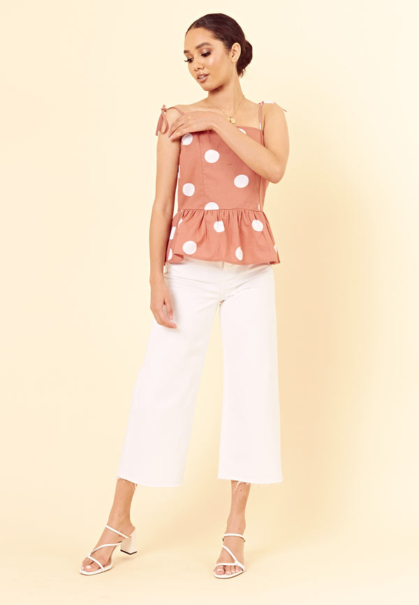 Spot Peplum Top <br> Brown