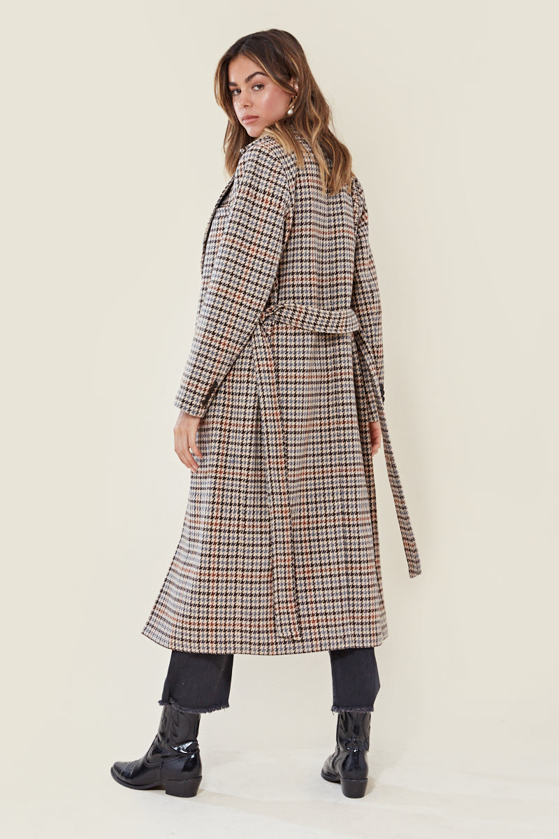 Brown Houndstooth Belted Trench Coat <br/> Brown