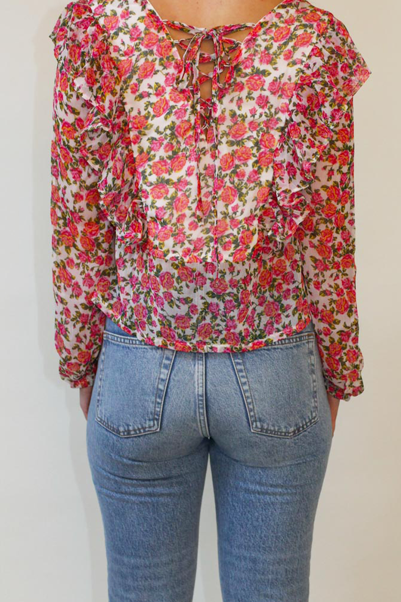 Mabel Floral Tie Back Blouse <br/> Pink