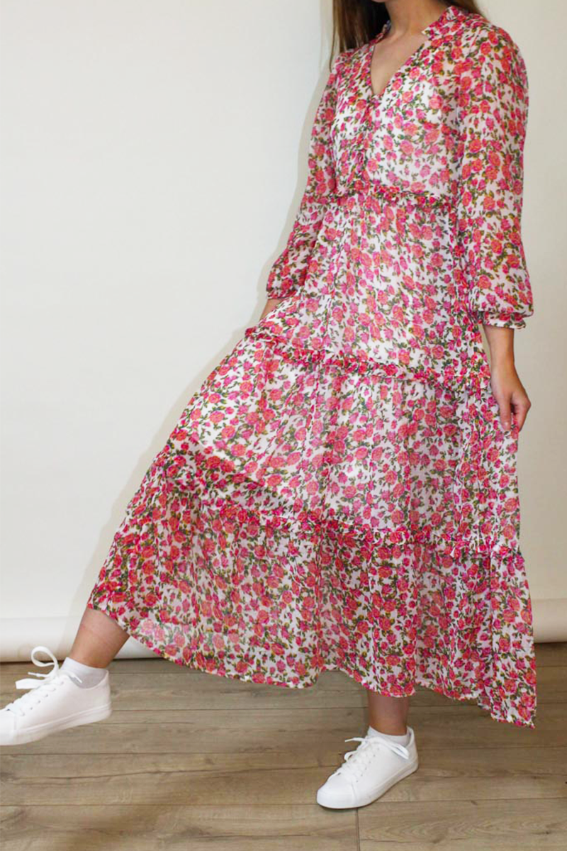 Mabel Floral Tiered Maxi Dress <br/> Pink