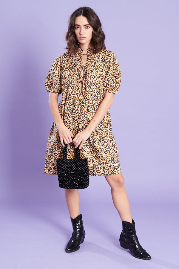 Leopard Print Smock Dress <br/> Brown