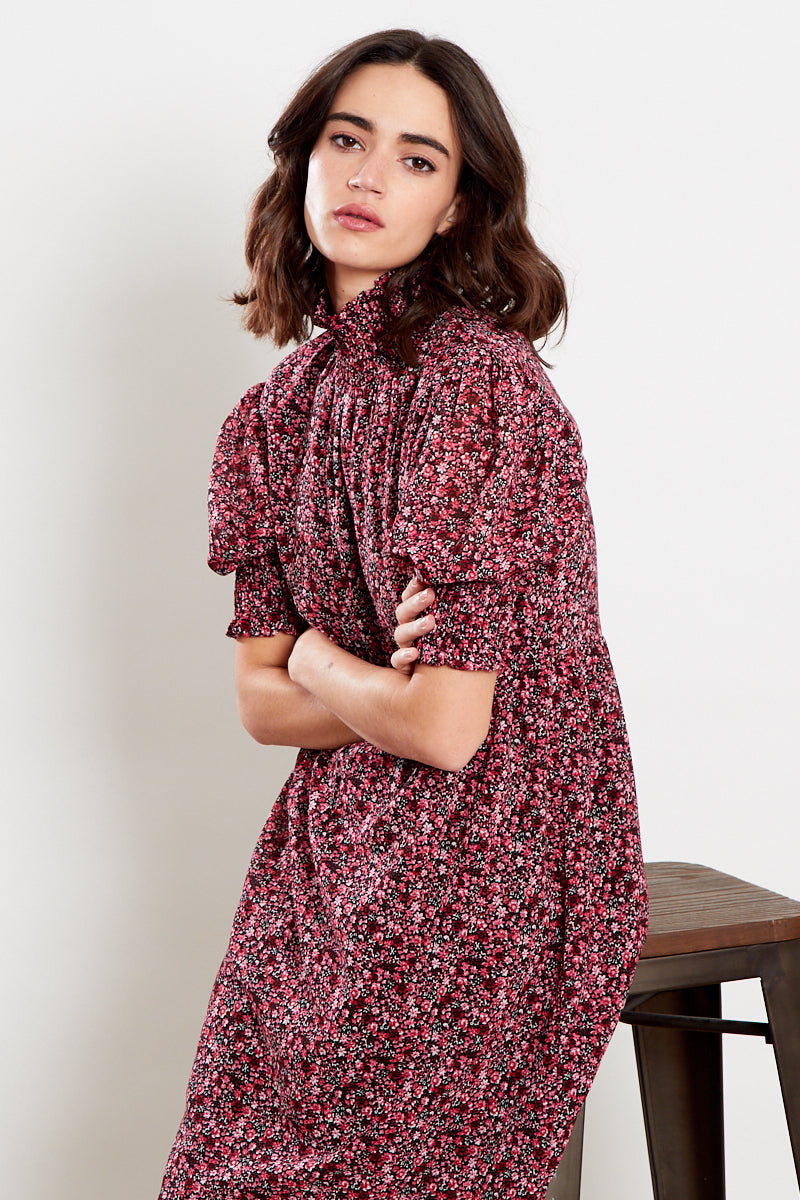 Ditsy Floral Midi Dress <br/> Red