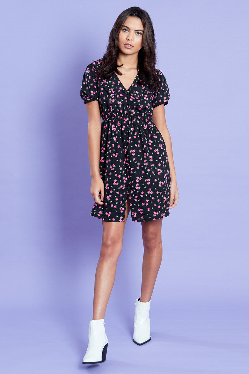 Disty Rose Mini Dress with Frill Collar <br/> Black