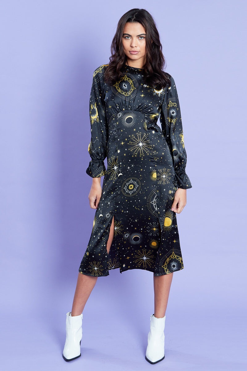 Constellation Midi Dress <br/> Black