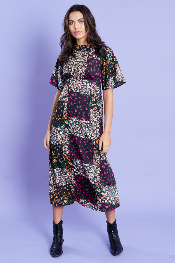 Patchwork Floral Midi Dress <br/> Multi