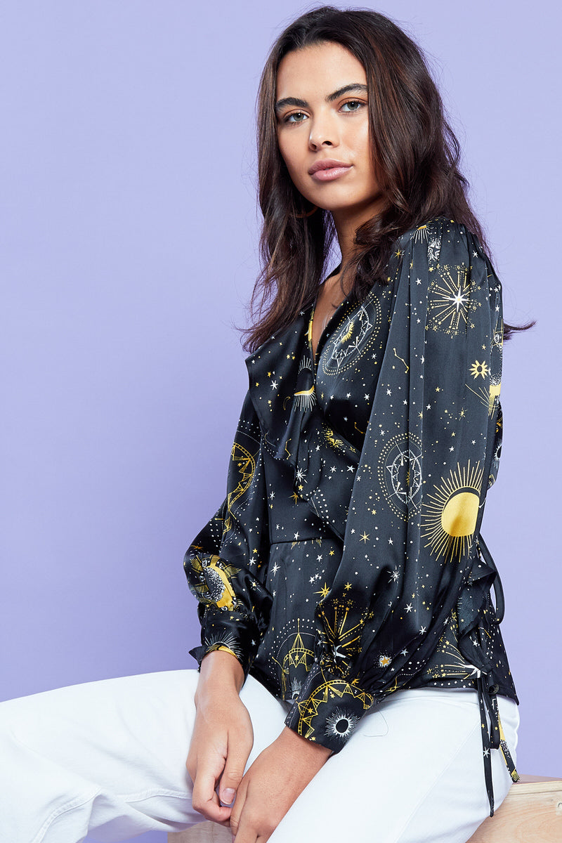 Constellation Wrap Blouse  <br/> Black
