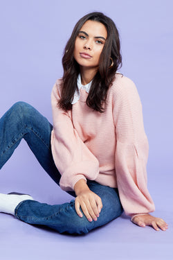 Puff Sleeve Knit Jumper <br/> Pink